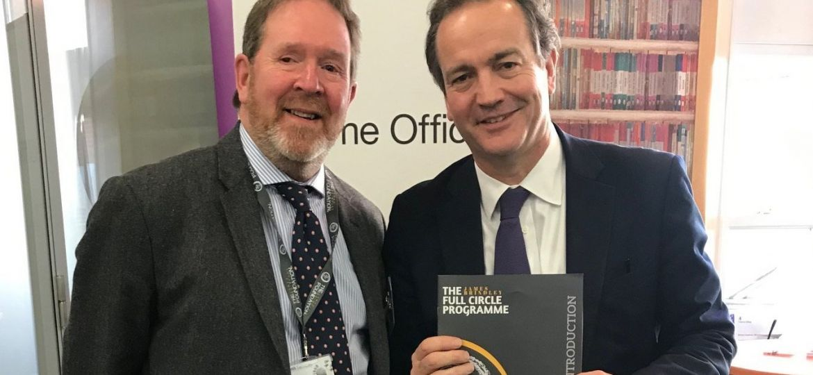 Mark Brindley with Rt. Hon Nick Hurd MP for policing and fire services, after a private meeting about the Full Circle Programme